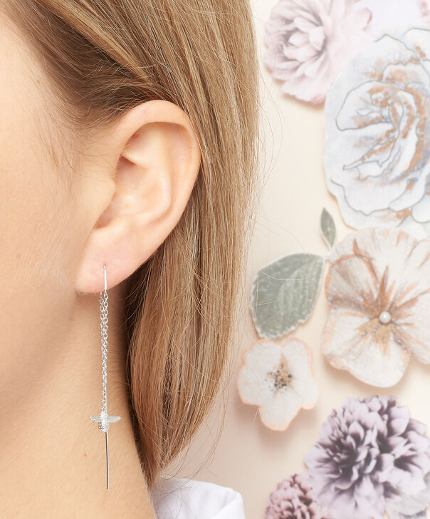 OLIVIA BURTON LONDON  3D Bee Threader Earrings Silver OBJ16AME14 – 3D Bee Chain Earrings - Other view