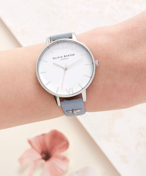 OLIVIA BURTON LONDON  3D Bee Embellished Strap Silver Watch OB16ES16 – Big Dial Round in White and Silver - Other view