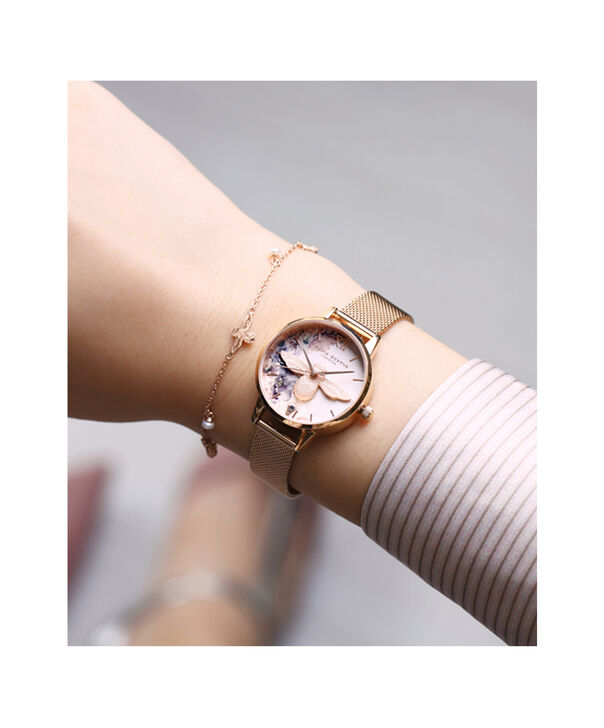 OLIVIA BURTON LONDON  Watercolour Florals Rose Gold Mesh OB16PP40 – Midi Dial Round in Rose Gold - Other view