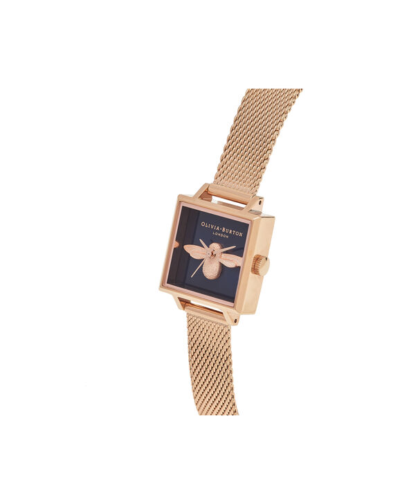 OLIVIA BURTON LONDON  Square Dial 3D Bee Midnight & Rose Gold Mesh Watch OB16AM96 – Midi Square Navy and Rose Gold - Side view
