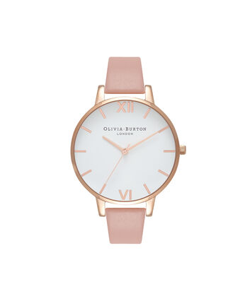 OLIVIA BURTON LONDON Big Dial Dusty Pink Watch, Rose GoldOB16BDW25 – Big Dial Round in White and Dusty Pink - Front view