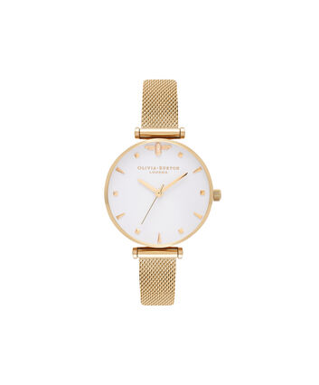 OLIVIA BURTON LONDON Queen BeeOB16AM138 – Midi Dial Round in White and Gold - Front view