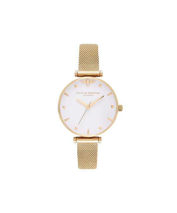 OLIVIA BURTON LONDON  Queen Bee Gold Mesh Watch OB16AM138 – Midi Dial Round in White and Gold - Front view