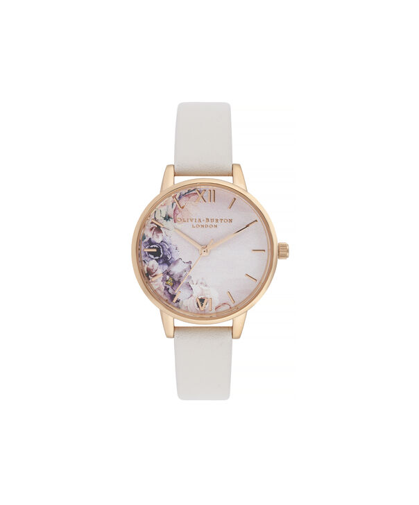 OLIVIA BURTON LONDON Watercolour Florals Midi Dial WatchOB16PP54 – Midi Dial in pink and Rose Gold - Front view