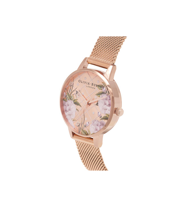 OLIVIA BURTON LONDON  Dot Design Rose Gold Mesh Watch OB16DD06 – Midi Dial Dot in Floral and Rose Gold - Side view