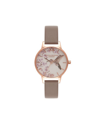 OLIVIA BURTON LONDON Painterly PrintsOB16PP17 – Midi Dial in White Floral and Grey - Front view