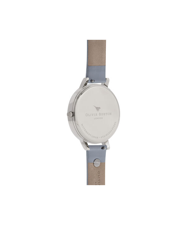 OLIVIA BURTON LONDON  3D Bee Embellished Strap Silver Watch OB16ES16 – Big Dial Round in White and Silver - Back view