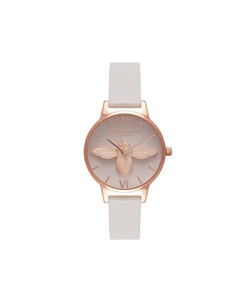 OLIVIA BURTON LONDON  3D Bee Blush Dial Blush & Rose Gold Watch OB16AM85 – Midi Dial Round in Blush - Front view