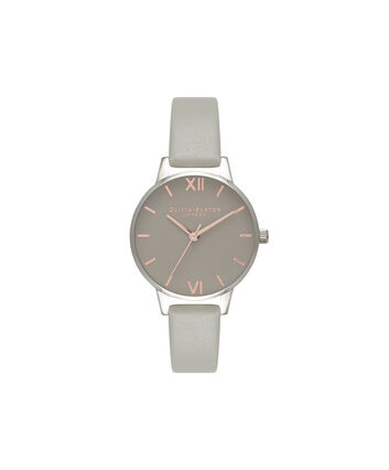 OLIVIA BURTON LONDON Grey DialOB16MD79 – Midi Dial Round in Grey - Front view