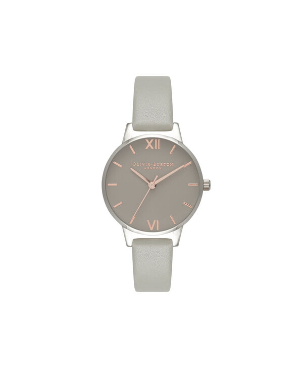 OLIVIA BURTON LONDON Midi Grey Dial Grey Watch, Rose Gold & SilverOB16MD79 – Midi Dial Round in Grey - Front view