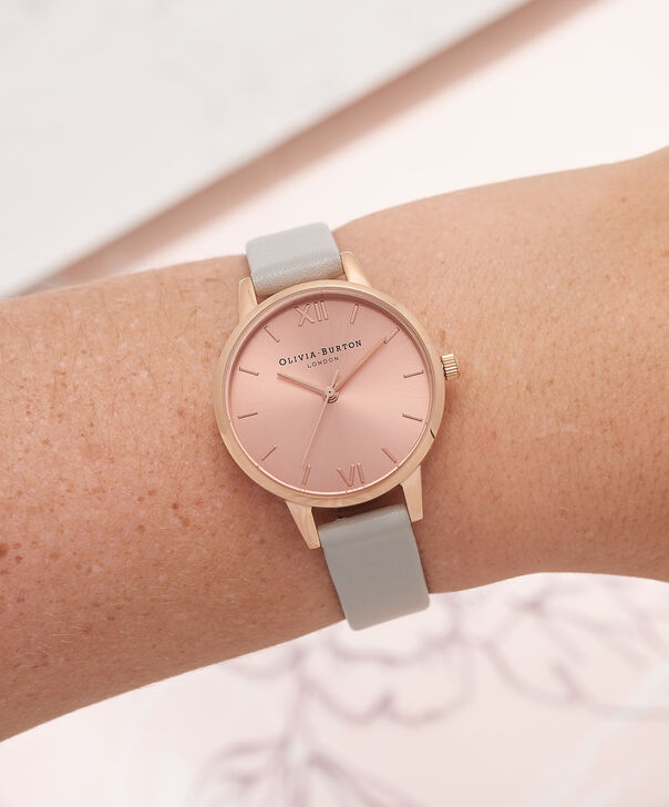 OLIVIA BURTON LONDON  Midi Dial Grey And Rose Gold Watch OB15MD46 – Midi Dial Round in Rose Gold and Grey - Other view