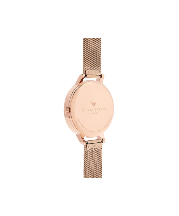 OLIVIA BURTON LONDON  Painterly Prints Hummingbird Nude Peach & Rose Gold Watch OB16PP21 – Big Dial Round in Floral and Rose Gold - Back view