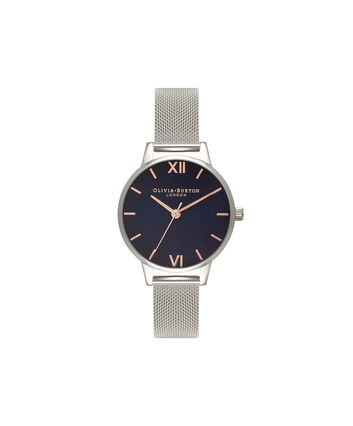 OLIVIA BURTON LONDON Navy DialOB16MD71 – Midi Dial Round in Navy and Silver - Front view