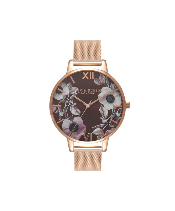 OLIVIA BURTON LONDON  Midi Signature Floral Rose Gold Mesh Watch OB16PL26 – Big Dial Round in Rose Gold and Chocolate - Front view