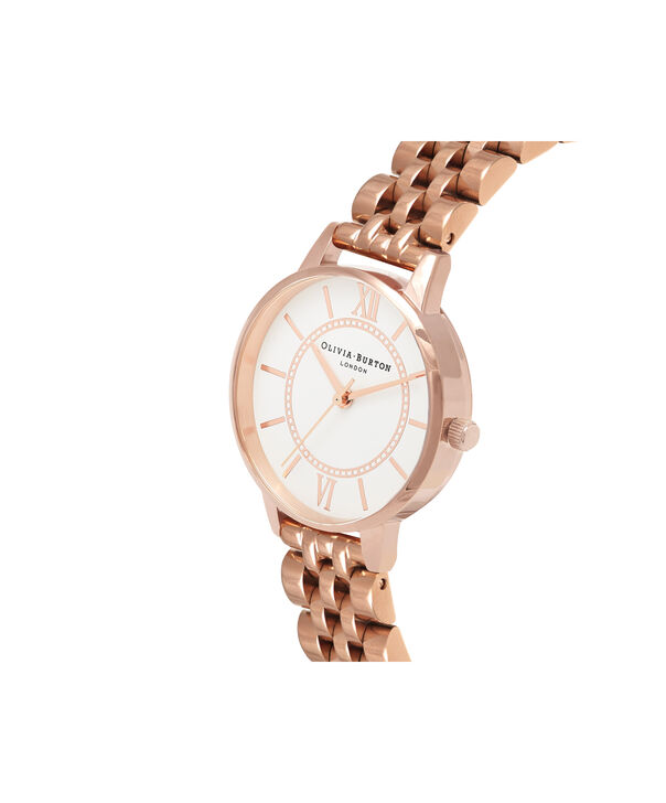 OLIVIA BURTON LONDON  Wonderland Bracelet, Rose Gold OB16WD70 – Midi Dial Round in Rose Gold - Side view