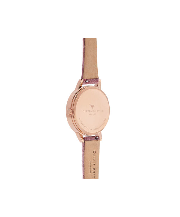 OLIVIA BURTON LONDON Exclusive Midi Dial Rose Velvet & Rose Gold Sunray OB16MD90 – Big Dial Round in Rose Gold - Back view