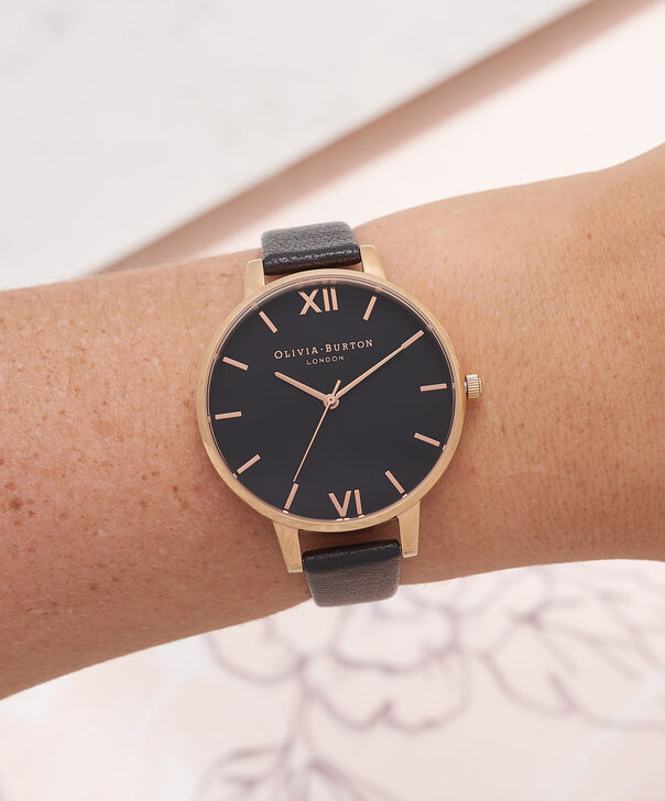 OLIVIA BURTON LONDON  Big Dial Black And Rose Gold Watch OB15BD66 – Big Dial Round in Black - Other view