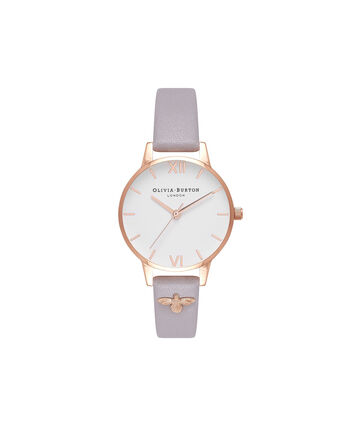 OLIVIA BURTON LONDON  3D Bee Embellished Strap Grey Lilac & Rose Gold Watch OB16ES11 – Midi Dial Round in Rose Gold and Grey Lilac - Front view