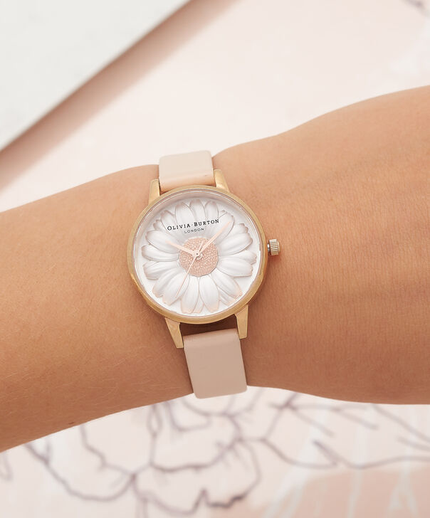 OLIVIA BURTON LONDON  3D Daisy Nude Peach & Rose Gold Watch OB16FS87 – Midi Dial Round in White and Peach - Other view