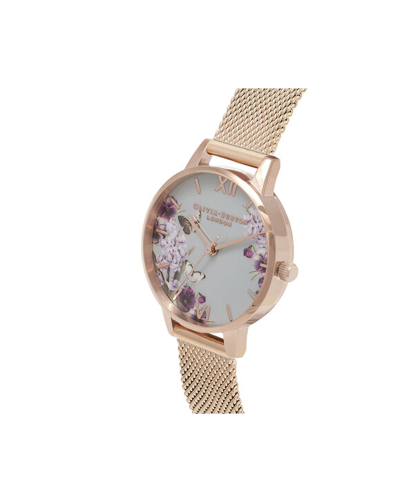 OLIVIA BURTON LONDON Blooms & Butterflies Grey Dial And Rose Gold MeshOB16EX108 – Midi Dial In Rose Gold And Rose Gold - Side view