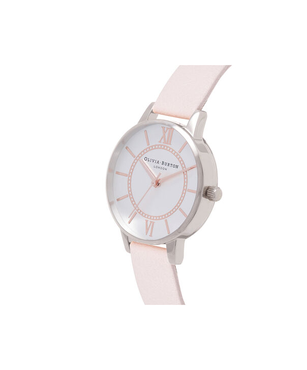 OLIVIA BURTON LONDON  Wonderland Rose Sand and Silver Watch OB16WD66 – Midi Dial Round in Silver and Rose Sand - Side view