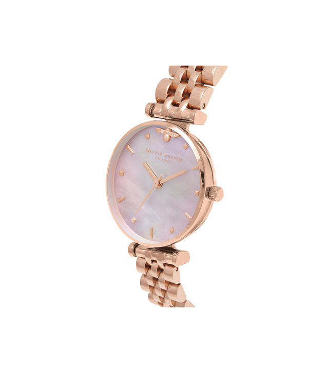 OLIVIA BURTON LONDON  Queen Bee Pink Mother of Pearl Bracelet Rose Gold OB16AM152 – Midi Dial Round in Rose Gold - Side view