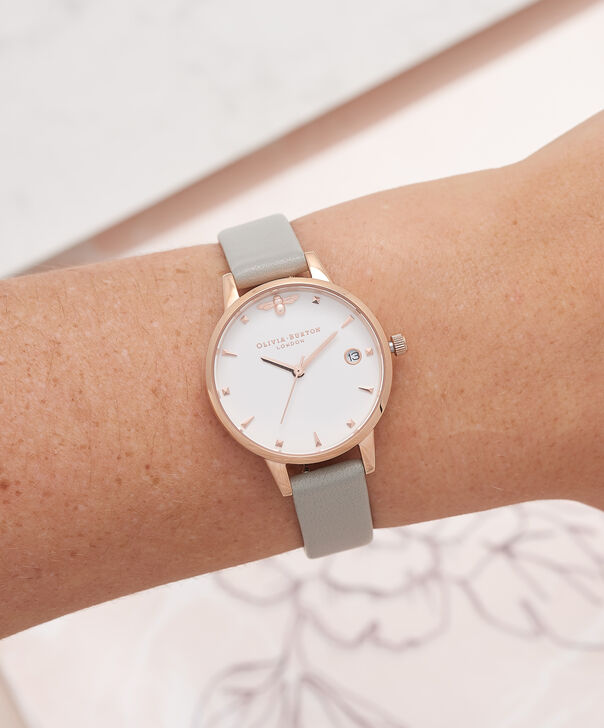 OLIVIA BURTON LONDON  Queen Bee Grey & Rose Gold Watch OB16AM126 – Midi Dial Round in White and Grey - Other view