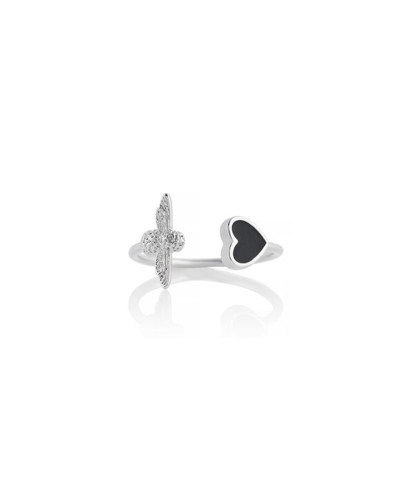 OLIVIA BURTON LONDON Love Bug Ring Black and SilverOBJLHR10 – SHOPBAG_LABEL - Front view