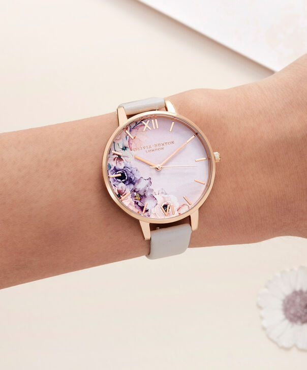 OLIVIA BURTON LONDON  Watercolour Florals Blush & Rose Gold Watch OB16PP31 – Big Dial Round in Floral and Blush - Other view