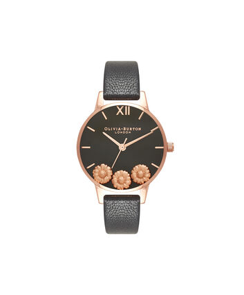OLIVIA BURTON LONDON Dancing DaisyOB16CH05 – Midi Dial Round in Black and Rose Gold - Front view