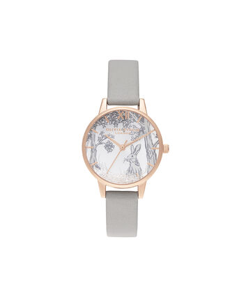 OLIVIA BURTON LONDON Snow Globe Winter Bunny Midi Grey & Rose GoldOB16SG06 – Midi Dial in Grey and Rose Gold - Front view