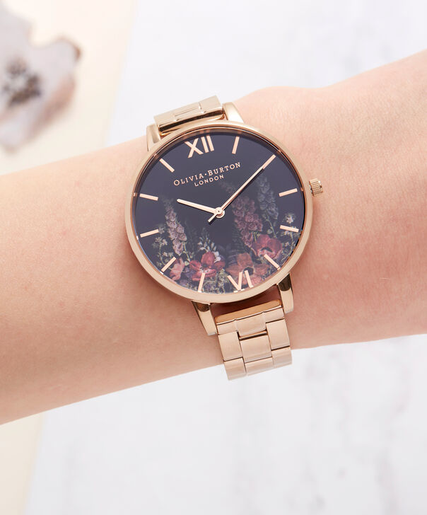 OLIVIA BURTON LONDON  Dark Bouquet Rose Gold Bracelet Watch OB16WG45 – Big Dial Round in Dark Floral and Rose Gold - Other view