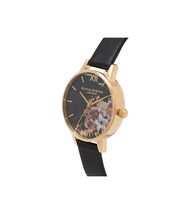 OLIVIA BURTON LONDON  Marble Floral Black & Gold Watch OB16CS11 – Midi Dial Round in Floral Sand and Black - Side view