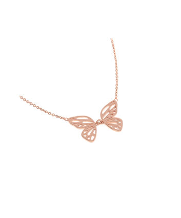 OLIVIA BURTON LONDON Butterfly Wing Necklace Rose GoldOBJ16EBN05 – Butterfly Wing Necklace - Front view