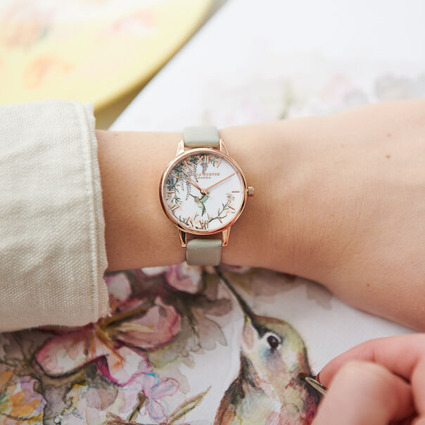 OLIVIA BURTON LONDON  Painterly Prints Grey & Rose Gold Watch OB16PP22 – Midi Dial in White Floral and Grey - Other view