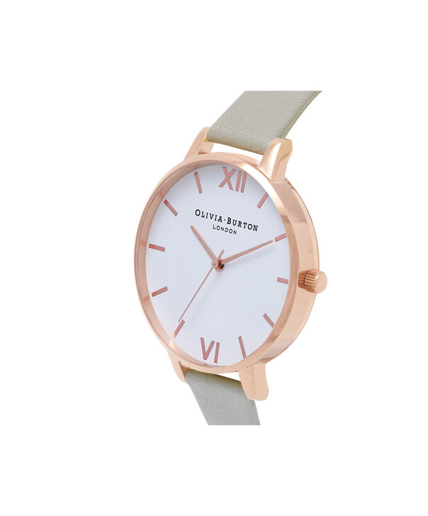 OLIVIA BURTON LONDON  Big Dial Grey & Rose Gold Watch OB15BDW02 – Big Dial Round in White and Grey - Side view