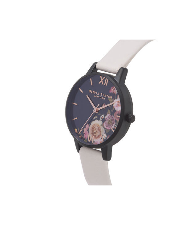 OLIVIA BURTON LONDON  After Dark Marble Floral Black & Rose Gold Watch OB16AD30 – Midi Round in Dark Floral and Rose Gold - Side view