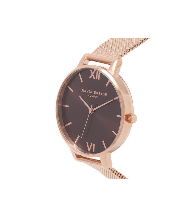 OLIVIA BURTON LONDON  Big Dial Rose Gold Mesh Watch OB16BD86 – Big Dial in Chocolate and Rose Gold - Side view