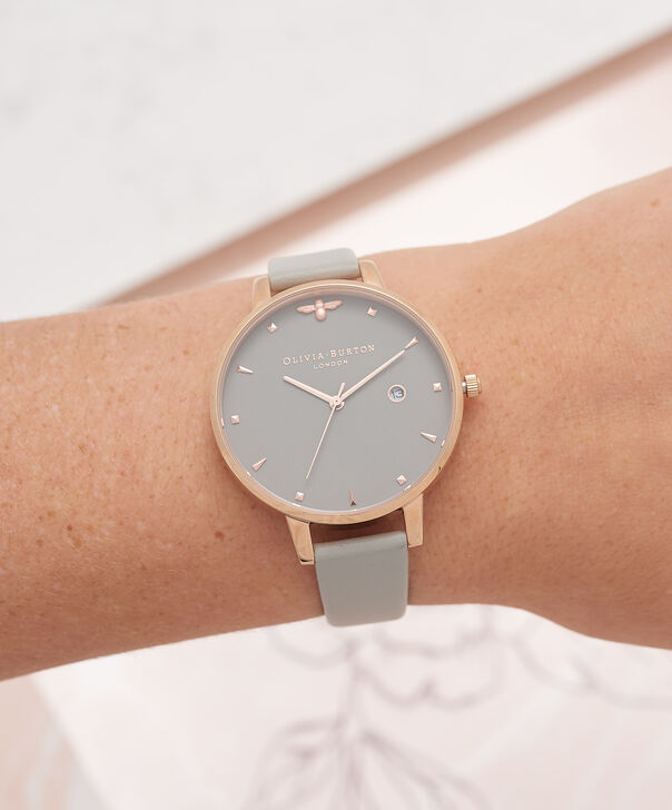 OLIVIA BURTON LONDON Queen Bee Grey Dial & Rose Gold WatchOB16AM87 – Big Dial Round in Grey - Other view