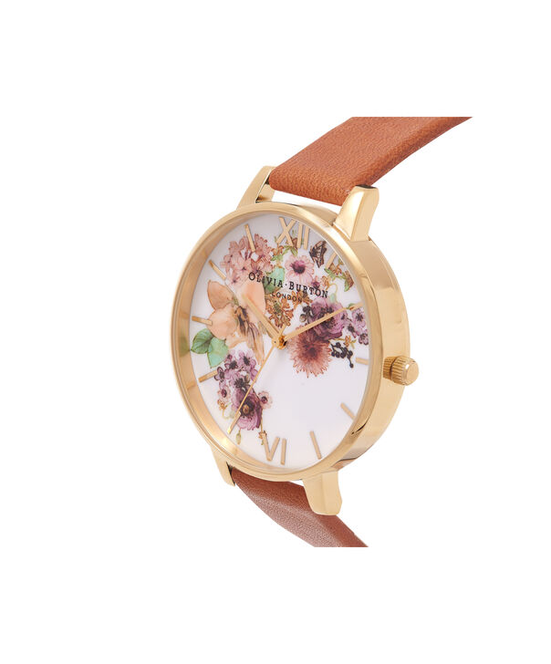 OLIVIA BURTON LONDON  Painterly Prints Tan & Gold Watch OB14FS02 – Big Dial Round in Tan and Rose Gold - Side view