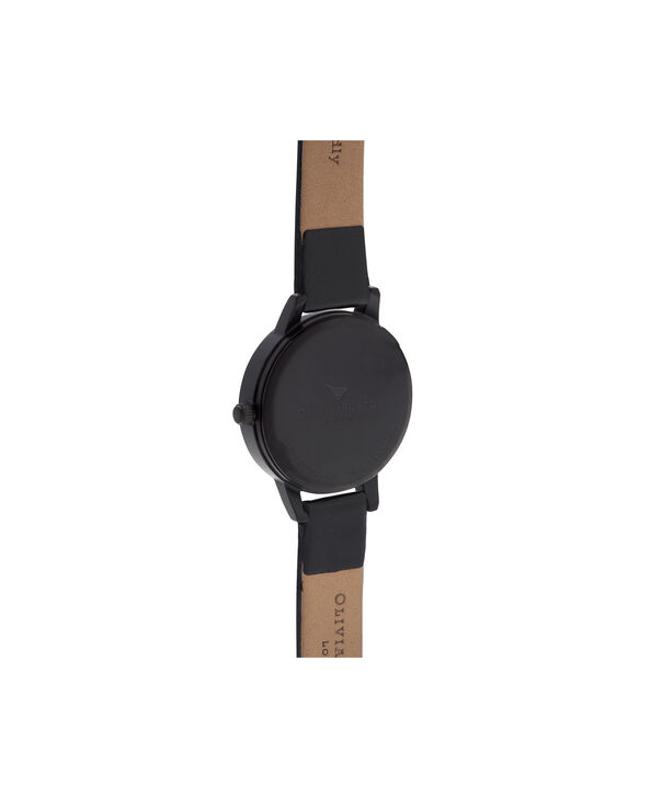 OLIVIA BURTON LONDON  After Dark Black & Ip Black Watch OB16AD22 – Midi Dial Round in Floral and Black - Back view