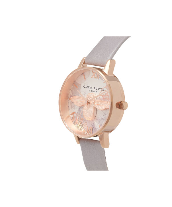 OLIVIA BURTON LONDON Abstract Florals Grey Lilac & Rose Gold Watch OB16VM17 – Midi Round in Rose Gold and Grey Lilac - Side view