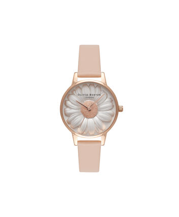 OLIVIA BURTON LONDON  3D Daisy Nude Peach & Rose Gold Watch OB16FS87 – Midi Dial Round in White and Peach - Front view