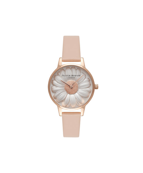 Ladies 3D Daisy Nude Peach & Rose Gold Watch | Olivia Burton London