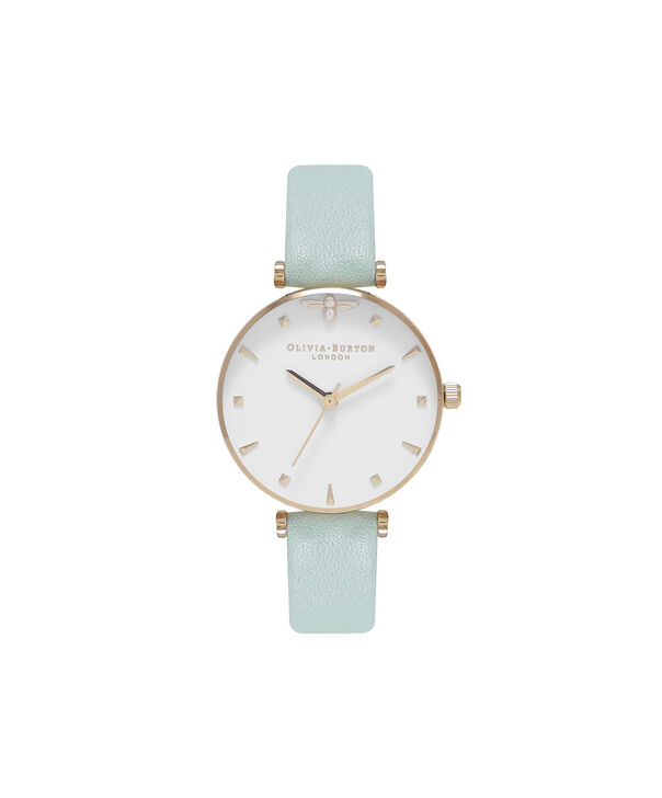 OLIVIA BURTON LONDON Queen Bee Mint Green & Rose Gold WatchOB16AM143 – Midi Dial Round in White and Mint Green - Front view