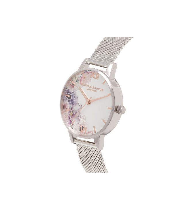 OLIVIA BURTON LONDON  Watercolour Florals Silver Mesh Watch OB16PP37 – Midi Dial Round in White and Silver - Side view