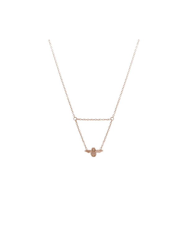 OLIVIA BURTON LONDON  3D Bee Drop Necklace Rose Gold OBJ16AMN06 – 3D Bee Drop Necklace - Front view