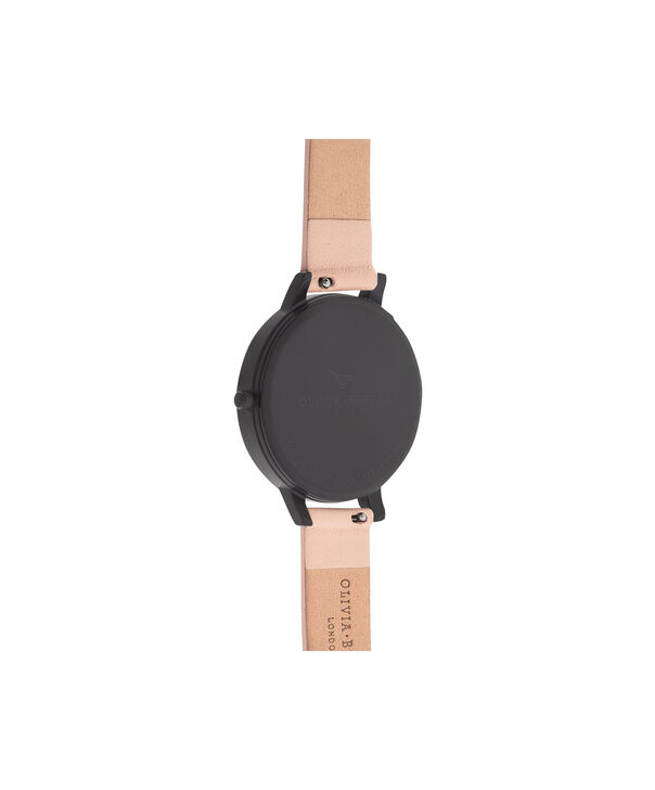 OLIVIA BURTON LONDON  After Dark Nude Peach & Ip Black Watch OB16AD25 – Big Dial Round in Black and Peach - Back view
