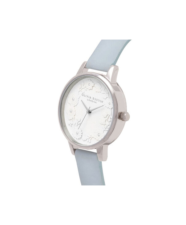 OLIVIA BURTON LONDON  Artisan Dial Chalk Blue & Silver OB16AR03 – Midi Dial Round in Silver and Blue - Side view