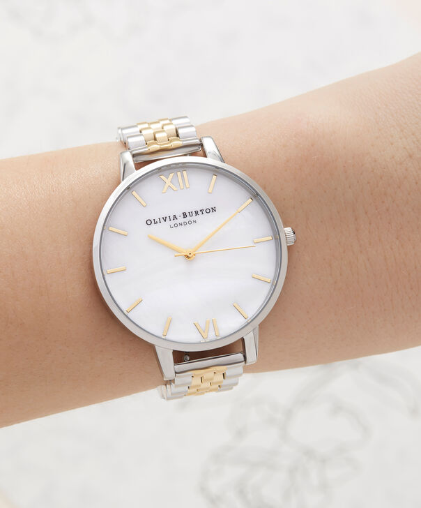 OLIVIA BURTON LONDON  Mother of Pearl White Bracelet, Gold & Silver OB16MOP05 – Big Dial Round in Gold and Silver - Other view